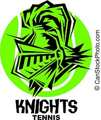 knights tennis team design with mascot head inside ball for...