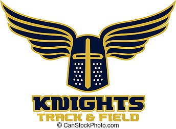 knights track and field team design with helmet and wings...