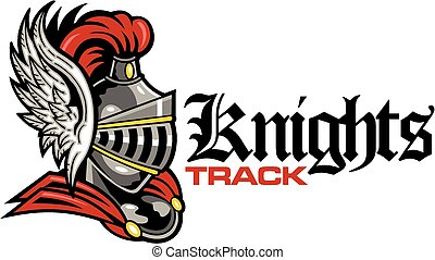 knights track with mascot helmet with wings
