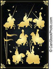 Knights vector background royal set