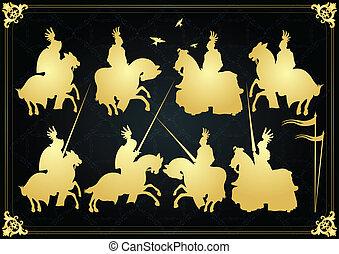 Knights vector background royal set
