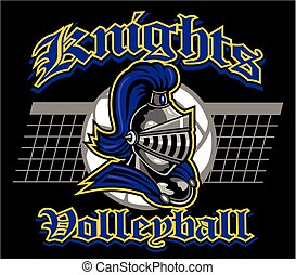 knights volleyball team design with mascot and ball for school, college or league