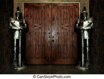 Knights Wearing Armor Background - Entrance Protected by...