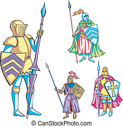 Knights with lance - Medieval knights with lance. Set of...