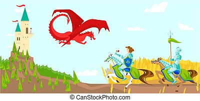 Knights with swords fight fierce dragon cartoon vector illustration of wild fairytale fantasy creatures with wings in sky, castle.