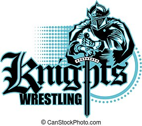 knights wrestling team design with mascot for school,...