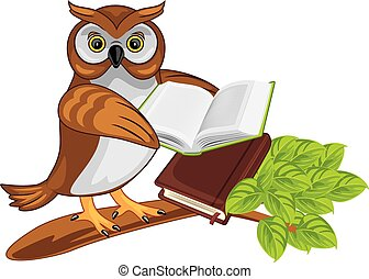 kniha, strom, sovička