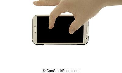 knijpen, isoleren, hand, telefoon, achtergrond, smart