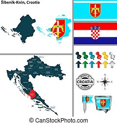 knin, croacia, sibenik, mapa