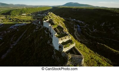 Knin Fortress in Croatia - Aerial circular view of the old...