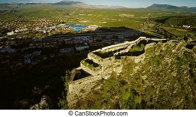 Knin Fortress in Croatia - Aerial view of the old military...
