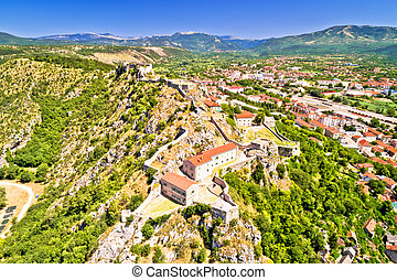 Knin fortress on the rock aerial view, second largest fortress in Croatia