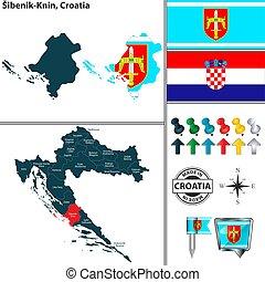 knin, kroatien, sibenik, landkarte