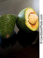 knippen, avocado, op, fruit, vers, afsluiten