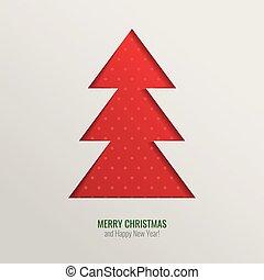 knippen, boompje, vector, achtergrond, kerstmis, uit