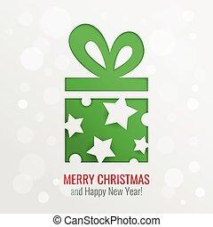 knippen, cadeau, vector, achtergrond, kerstmis, uit