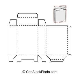 knippen, eenvoudig, papier, box., mal, karton, of, uit