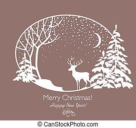 knippen, firs, groet, sneeuwval, boompje, rendier, papier, retro, kerstmis kaart, uit