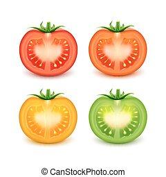 knippen, gele, set, groen rood, sinaasappel, verse tomaten