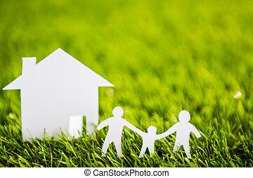 knippen, gezin, lente, boompje, papier, groen huis, fris, ...