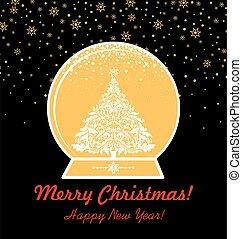 knippen, goud, ouderwetse , globe, boompje, kerstmis, kerstmis, uit