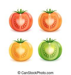 knippen, groot, gele, set, groen rood, sinaasappel, tomaten