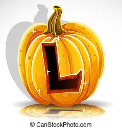 knippen, halloween, l, pumpkin., lettertype, uit