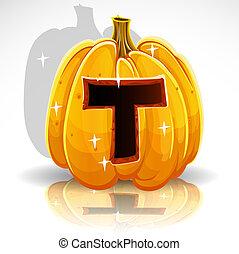 knippen, halloween, pumpkin., t, lettertype, uit