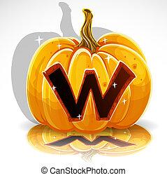 knippen, halloween, pumpkin., w, lettertype, uit