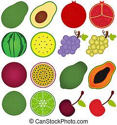 knippen, helft, fruit, fris
