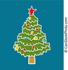knippen, isolated., boompje, fir., het document van kerstmis, kerstmis, uit