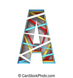 knippen, kleurrijke, papier, brief, lettertype, uit, 3d