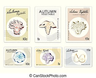 knippen, kunst, groentes, herfst, postzegels, set, papier, ...