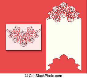 knippen, laser, card1.eps, uitnodiging, enveloppe, mal, trouwfeest