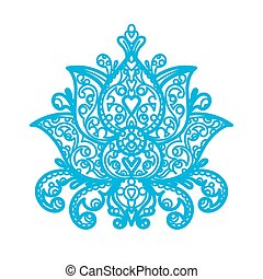 knippen, laser, lotus, -, ornament, hout