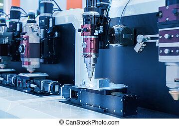 knippen, laser, metaal, machine, terwijl, holle weg, cnc , blad