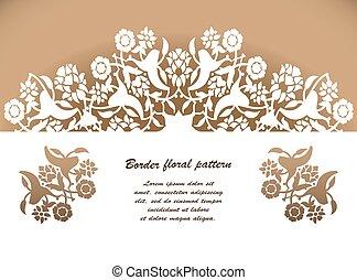 knippen, laser, vector., model, ornament, arabesk, floral, mal