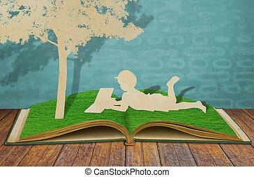 knippen, oud, lezen, boompje, kinderen, papier, onder, boek