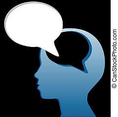 knippen, verstand, toespraak, sociaal, spreken, bel, denken...