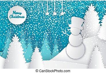 knippen, winter, groet, zalige kerst, kaart, uit