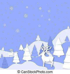 knippen, winter, hertje, style., spruce, papier, bergen, vrolijk, jaar, nieuw, uit, kerstmis, landscape, vrolijke