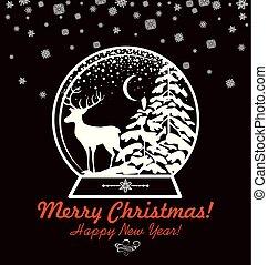knippen, winter, ouderwetse , globe, groet, rendier, de kaart van het document, zoet, kerstmis, landscape, uit