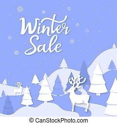 knippen, winter, poster, style., lettering., hertje, verkoop, hand, spruce, papier, reclame, jaar, nieuw, uit, spandoek, kerstmis, landscape, bergen