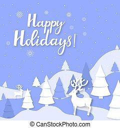 knippen, winter, style., bergen, uit, hertje, groet, feestdagen, spruce, papier, landscape, jaar, nieuw, hand, lettering., kerstmis kaart, vrolijke