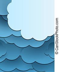 knippen, wolken, mal, papier, ontwerp, achtergrond, of
