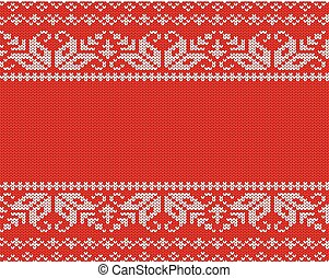 Knit christmas design. Geometric seamless pattern. Xmas red background with empty space for text.
