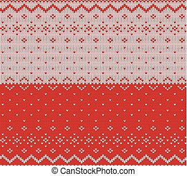 Knit christmas design. Xmas seamless pattern red background. Knitted winter sweater texture.