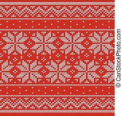 Knit Christmas seamless pattern. Knitted scandinavian texture. Vector.