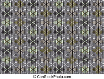 Knit texture. Fabric gray background with geometric ornament