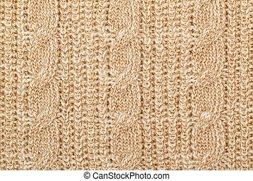 Knit woolen texture - Fabric beige knit woolen material with...